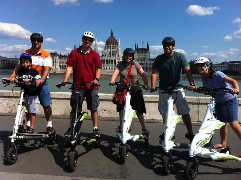 Trikke with a tricycle in Budapest
